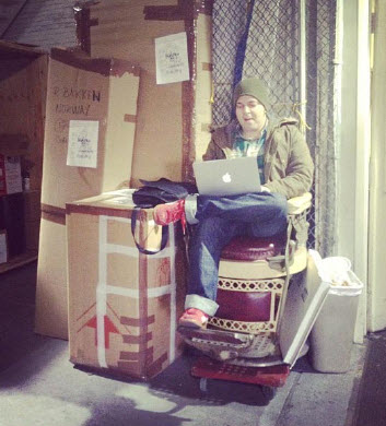 NyShipping employee bundles up the warehouse to work